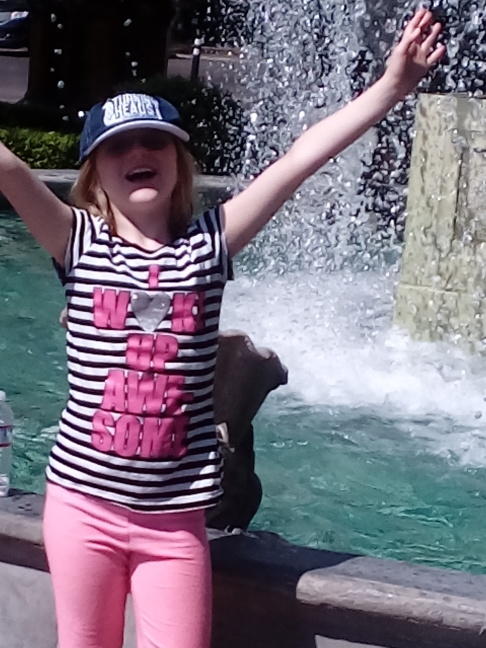 Lindsay cools off in Bellagio fountain. 106 in Las Vegas today!